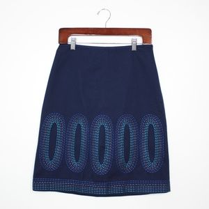NWOT Boden Navy Embroidered Pencil Skirt